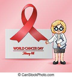 februari, pekande, medical.4, läkare, affisch, kvinnlig, värld, dag, cancer