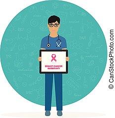 februari, poster., cancer, pekande, läkare, läkar illustration, vektor, 4, clipboard., värld, horisontal, manlig, dag