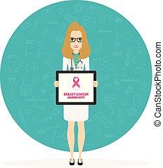februari, poster., cancer, pekande, läkare, läkar illustration, vektor, 4, kvinnlig, värld, horisontal, clipboard., dag
