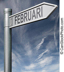 Februari road sign clipping path
