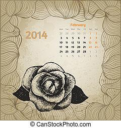 februari, serie, bläck, 2014., hand, calendar., penna, artistisk, ro, oavgjord, kalender, en, botanisk, kort