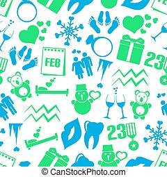 februari, set, eps10, iconen, eenvoudig, model, seamless, maand, thema
