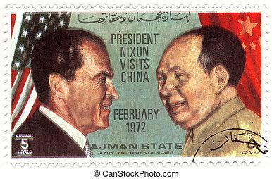 februari, usa, postzegel, 1972, bezoeken, china, president,...