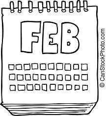 februari, visande, månad, svart, vit, kalender, tecknad film