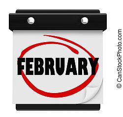 februari, woord, zich herinneren, schema, muur, maand, kalender
