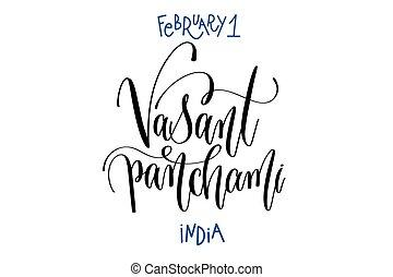 february 1 - vasant panchami - India, hand lettering inscription