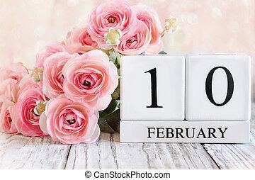 February 10th Calendar Blocks with Pink Ranunculus
