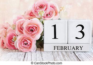 February 13th Calendar Blocks with Pink Ranunculus