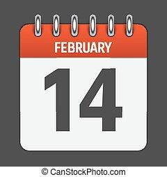 February 14 Calendar Daily Icon. Vector Illustration Emblem....