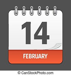 February 14 Calendar Daily Icon. Vector Illustration Emblem...