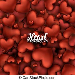 February 14. Love romantic 3D Realistic Red Hearts Background with Happy Valentines Day. Vector Illustration.