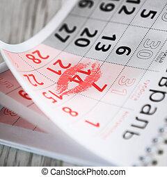 february 14, valentines, csókol, day., szent, naptár, oldal, piros