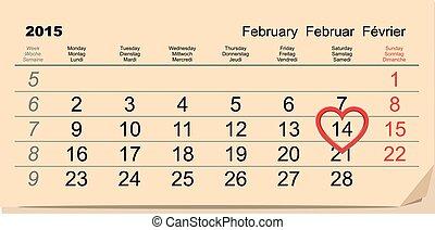February 14 Valentines Day. Calendar illustration in vector format