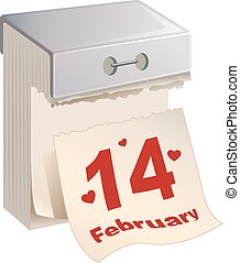 February 14 Valentines Day. Tear-off calendar. Isolated on...