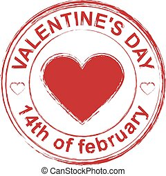 February 14 Valentines Day. Red stamp imprint heart shape....