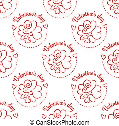 February 14, Valentines Day seamless pattern. Hand drawn...