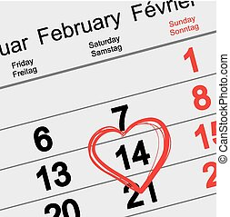 February 14 Valentines Day. Calendar illustration in vector...