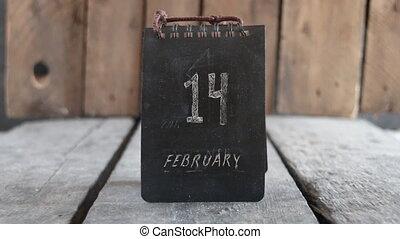 February 14 vintage calendar. Valentine's Day idea. Retro...