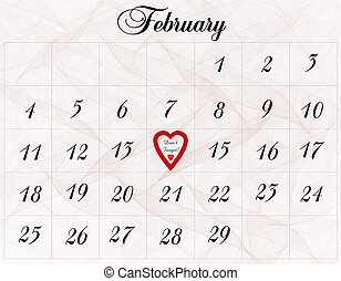 A February calendar with a reminder to not forget Valentine's Day