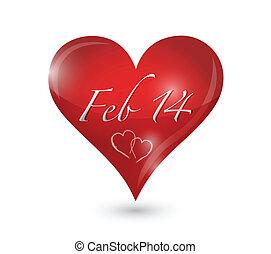 february 14th heart illustration design over a white ...