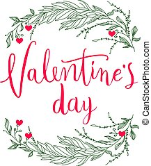 February 14th valentines day vintage lettering background or...