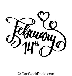 February 14th vector holiday calligraphy design template