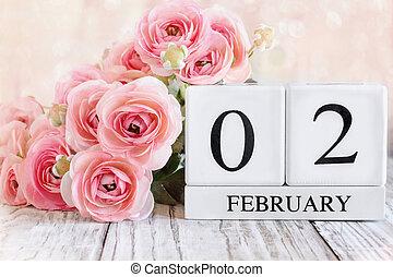 February 2 Calendar Blocks with Pink Ranunculus