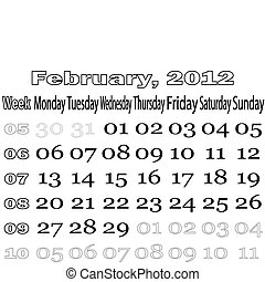February 2012 monthly calendar
