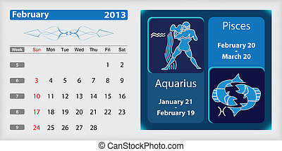 February 2013 Calendar and zodiac