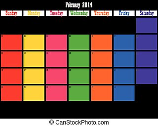 February 2014 planner big space color days on black