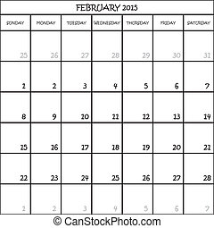 FEBRUARY 2015 CALENDAR PLANNER MONTH ON TRANSPARENT ...