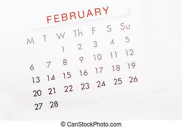 February 2017 calendar page. - Close up February 2017...