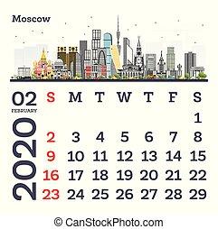 February 2020 Calendar Template with Moscow City Skyline.