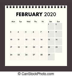 February 2020 calendar with wire bind