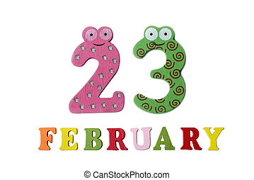 February 23 on white background, numbers and letters.