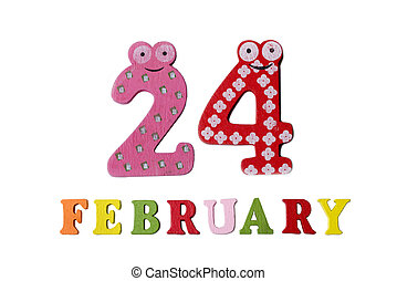 February 24 on white background, numbers and letters.