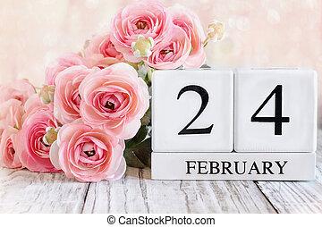 February 24th Calendar Blocks with Pink Ranunculus