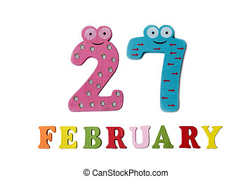 February 27 on white background, numbers and letters.