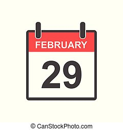 February 29 calendar icon. Leap Day, Vector illustration in flat style.