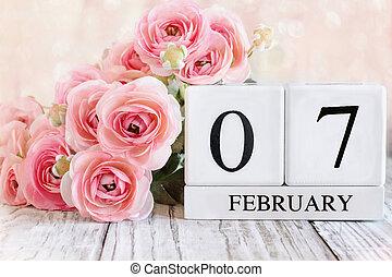 February 7 Calendar Blocks with Pink Ranunculus