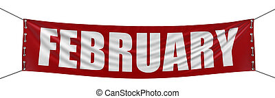 February Banner  - February Banner. Image with clipping path
