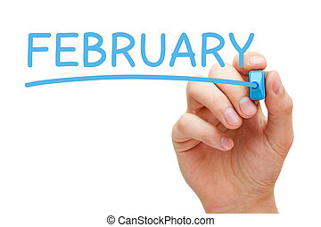 Hand writing February with blue marker on transparent wipe board.
