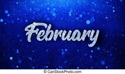 February Blue Text Wishes Particles Greetings, Invitation, ...