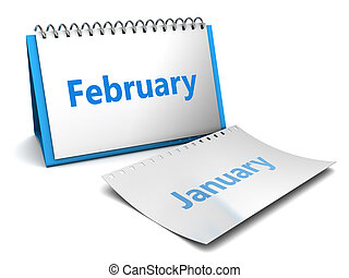 3d illustration of calendar with february month page