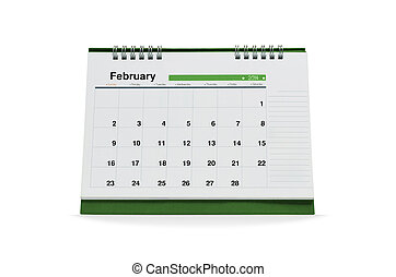 February calendar is empty Isolated on white background with...