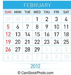 February Calendar. Illustration on white background for...