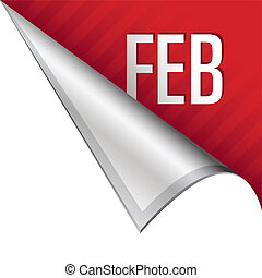 February corner tab - February calendar month icon on vector...