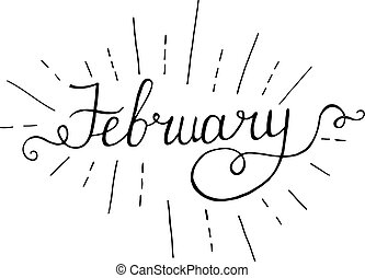 February Hand Lettering Vintage Quote Modern Calligraphy