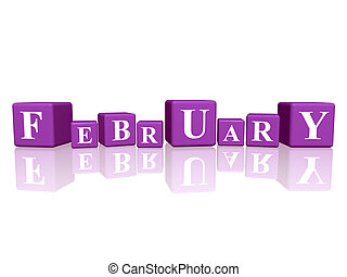 3d violet cubes with letters makes february