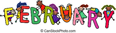 A group of happy stick children climbing over letters of the alphabet that spell out the word FEBRUARY.